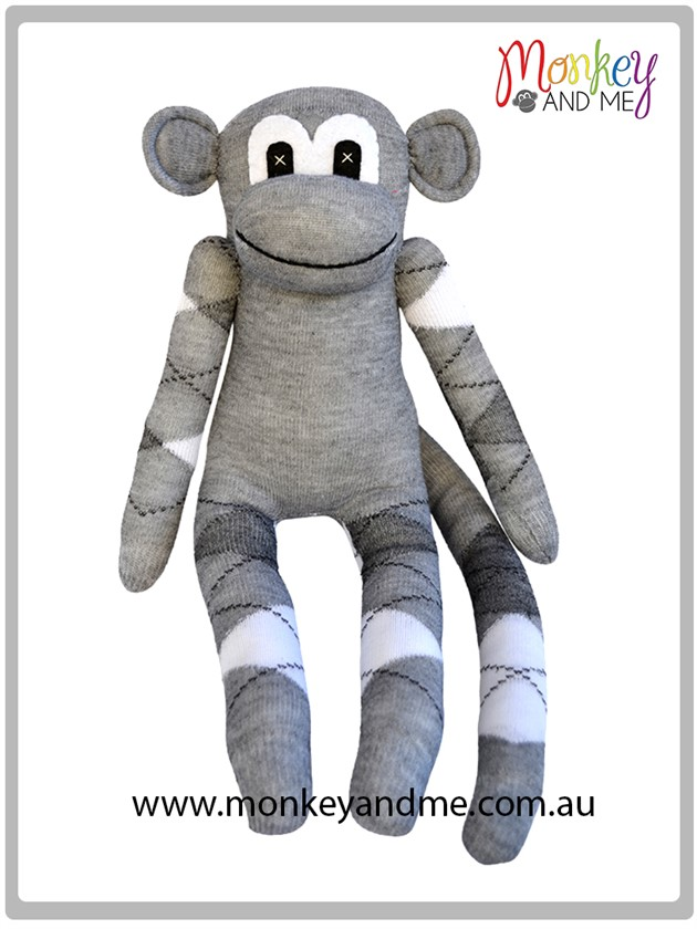 Grey Argyle Sock Monkey